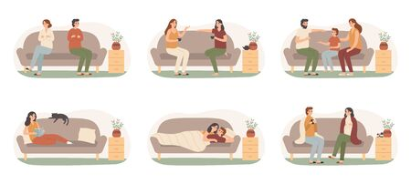 People on sofas. Happy healthy adults on couch, recovering sickness family and people on sofa basking under blanket. Families or friends sitting on couch together isolated vector icons set