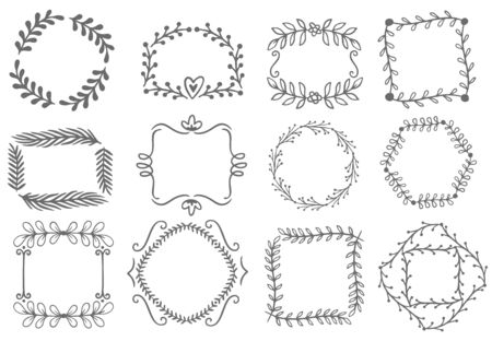 Floral ornament frames. Decorative leaves frame, hand drawn ornamental borders. Victorian style decor floral border, luxury royal antique wedding decorative emblem. Isolated vector icons set