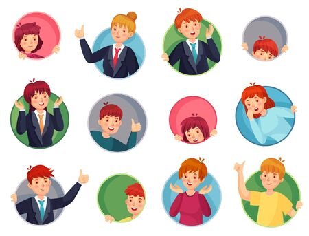 People in face hole. Surprised people look out of round holes, peeping out of window holes and thumb pointing out round hole. Doodle character profile avatar cartoon isolated vector icons set