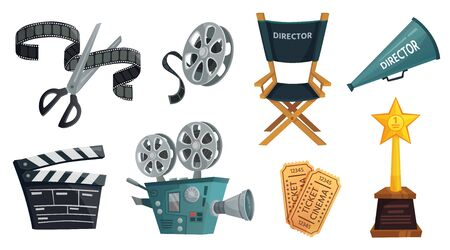 Cartoon film studio. Cinema video camera, movie clapper board and directors megaphone. Film director chair, tv camera, hollywood cinematography prize and ticket. Isolated vector illustration icon set