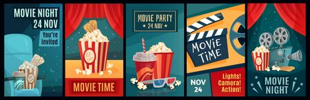 Cinema poster. Night film movies, popcorn and retro movie posters template. Cinematograph advertising banners, films ticket or movie show posters cartoon vector illustration set