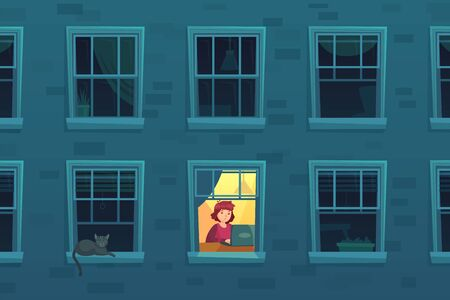 Working at night. Busy workaholic works home at nights when neighbors asleep, lonely man in window frame. Designer freelancer or it programmer job deadline cartoon vector illustration 向量圖像