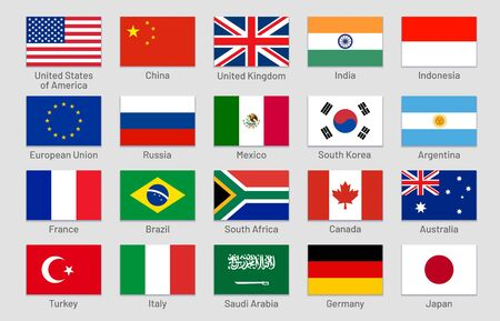 G20 countries flags. Major world advanced and emerging economies states, official Group of Twenty flag labels. International financial summit forum meeting flags symbols. Isolated vector icons set Ilustração