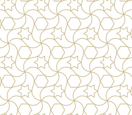 Arabic seamless pattern. Islamic geometric abstract background, damask asian wallpaper. Antique moroccan gold ramadan wallpaper, art deco engraving ornament vector repeating texture