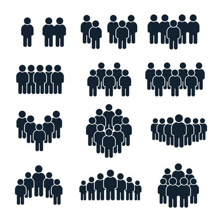 Icona del gruppo di persone. Persona d'affari, gestione del team e socializzare le icone della siluetta delle persone. Avatar del profilo dell'unità di leadership, set di simboli vettoriali isolati dall'utente del sito sociale della comunità di uomini d'affari Vettoriali