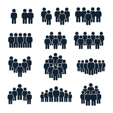 Icono de grupo de personas. Persona de negocios, gestión de equipos y personas socializadoras silueta iconos. Avatares de perfil de unidad de liderazgo, conjunto de símbolos vectoriales aislados del usuario del sitio social de la comunidad de negocios Ilustración de vector