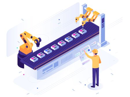 Isometric robotic factory. Engineer operates robotic conveyor, automatic robot arm and industrial manufacture. Robot ai steel arms construction, industry factory worker vector illustration