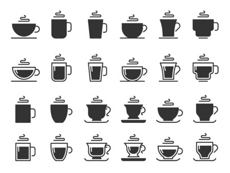 Coffee cup silhouette icons. Hot drinks cups, mug black stencil icon. Barista cup collection, black coffee beverage   or cappuccino and espresso drink utensil. Isolated vector symbols set Ilustração