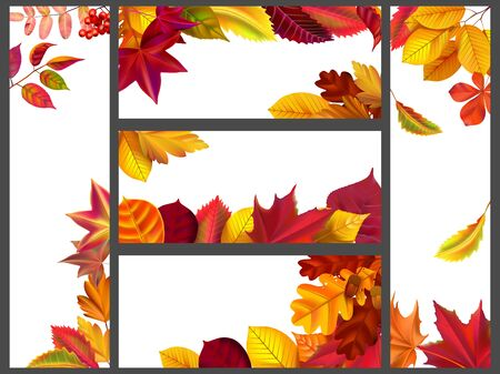 Realistic autumn leaves banners. Yellow garden leafage, flying leaf and fall season banner bundle. Autumnal season flying golden leaves frames vector illustration set