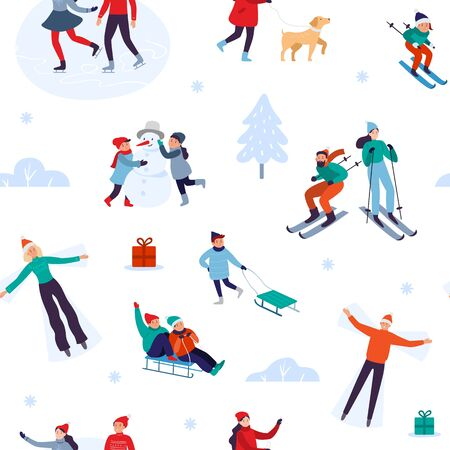 Winter holiday activities seamless pattern. Happy people walking outdoor, december holidays and winters snow fun. Xmas outdoors activity game, winter sport gift wrapping vector illustration Ilustração