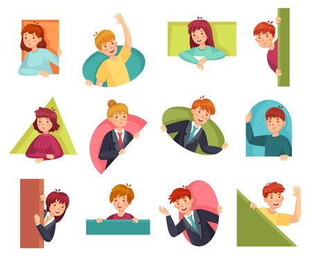 People peeking out. Man looking out, woman searching something and curiosity. Surprise emotion avatars, spying looking humans character. Cartoon vector illustration isolated icons set Banco de Imagens - 129434619