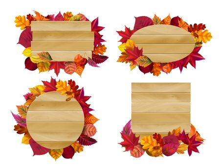 Wooden signs with autumn leaves. Yellow fall leaf, seasonal wood banner. Autumnal signboard, farm rural eco branch placard or park leaf label. Isolated vector illustration icons set Banco de Imagens - 129434648
