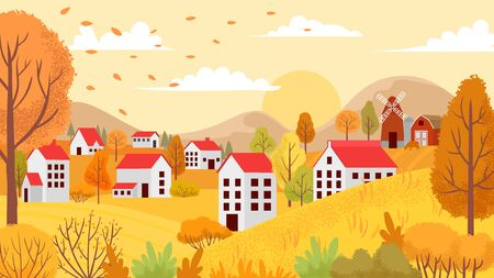 Autumn village landscape. Countryside autumnal gardens, yellow trees and sunny day. Farm agriculture autumn fall season nature vector background illustration