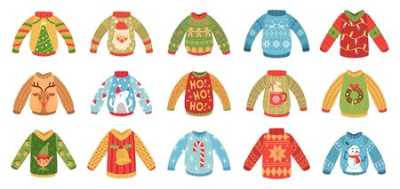 Cartoon christmas party jumpers. Xmas holidays ugly sweaters, knitted winter jumper and funny Santa sweater. Seasonal december 2020 holiday cozy clothing. Isolated vector icons set Banco de Imagens - 130568603