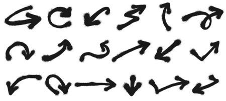 Spray painted arrows. Graffiti pointing arrow, dirty grunge paint. Sprayed painted cursor signs, graffiti arrows art. Isolated vector illustration symbols set