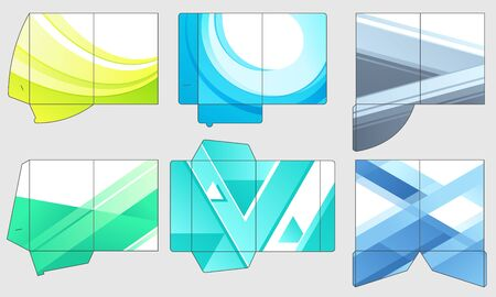 Business papers folder template. Paper presentation files pocket folders, color company templates layout. Geometric office page, document file brochure. Isolated vector icons set Banco de Imagens - 130568602