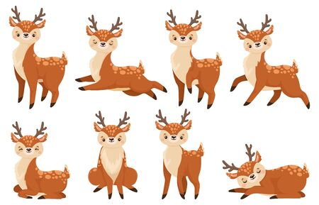 Cute cartoon deer. Running reindeer, wildlife fawn and deer child. Xmas reindeer character or wildlife forest deer mammal. Isolated vector illustration icons set