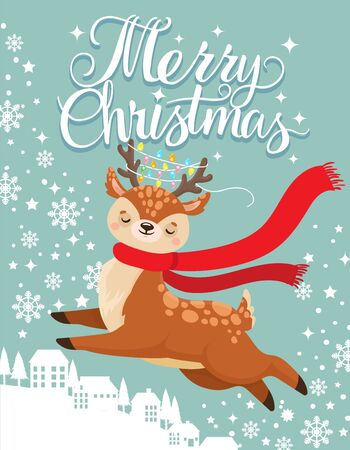 Greeting card with Xmas deer. Merry christmas postcard, cute fawn and winter holidays. New 2020 Year winter invitation card with reindeer character cartoon vector illustration Banco de Imagens - 130568604