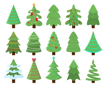 Decorated xmas trees. New Years tree with heralds, striped christmas pine. 2020 winter holidays party green fir with garland decoration. Isolated vector illustration icons set Banco de Imagens - 130568608