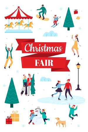 Christmas fair. Winter holiday poster, snow festival and xmas celebration. 2020 outdoor fair flyer or announcement banner, New Year market event invitation card vector illustration Banco de Imagens - 130568601