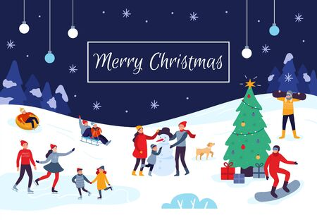 Winter people Merry Christmas card. Snow activities, happy kids make snowman and xmas holiday postcard. Celebration 2020 New Year poster, skating humans activity event poster vector illustration Banco de Imagens - 130568609