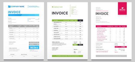 Vorlage für Geschäftsrechnungsformulare. Fakturierungsangebote, Geldrechnungen oder Preisrechnungen und Designvorlagen für Zahlungsvereinbarungen. Steuerformular, Rechnungsgrafik oder Zahlungseingangsseitenvektorsatz
