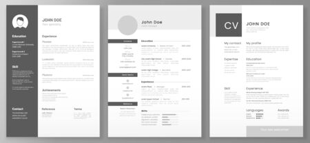 Resume template. professional or designer jobs resumes. Work in best corporate. Professional job hiring list, business work hr interview document vector illustration Banco de Imagens - 130568614
