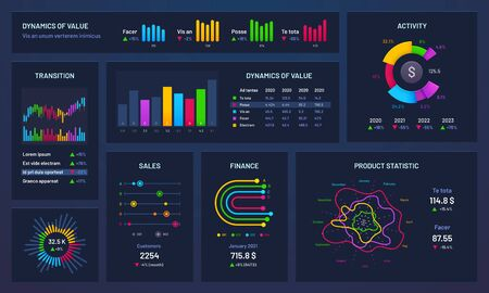 Infographic dashboard. Financial charts, gradient graph and trading statistic chart. Futuristic infographics, statistics graphic analyzing finance data bar vector illustration Banco de Imagens - 130568611