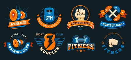Vintage gym emblem. Athlete muscles, fitness and bodybuilding labels. Sport signs, athlete  silhouette or fit bodybuilder retro badge. Colorful isolated vector symbols set