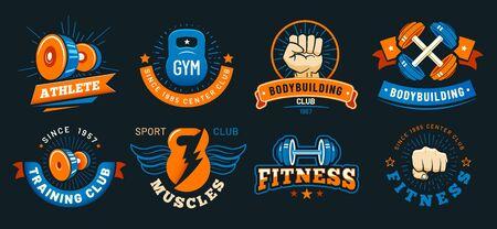 Vintage gym emblem. Athlete muscles, fitness and bodybuilding labels. Sport signs, athlete  silhouette or fit bodybuilder retro badge. Colorful isolated vector symbols set Banco de Imagens - 130568619