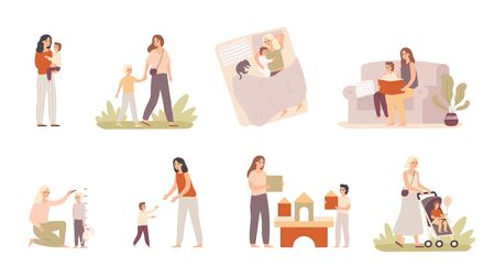 Mother and son. Mom raising child, motherhood love and moms hugs for little boy. Happiness parenting playing, mothers with sons relationship. Isolated vector illustration icons set Banco de Imagens - 130568876
