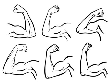 Powerful hand muscle. Strong arm muscles, hard biceps and hands strength outline. Muscular logo, healthy bodybuilding bicep badge or gym logotype. Isolated vector illustration signs set
