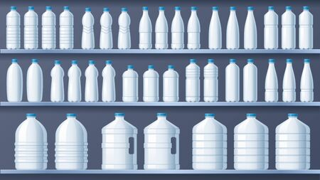 Plastic bottles on shelves. Bottled distilled water shelf, liquid drinks and pure mineral water store. Plastic bottle packaging, water delivery containers vector illustration
