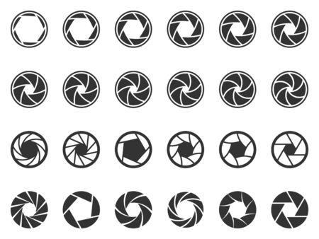 Camera lens diaphragm. Photo lenses aperture, cameras shutter silhouette icon and shutter apertures pictogram. Banco de Imagens - 130568873