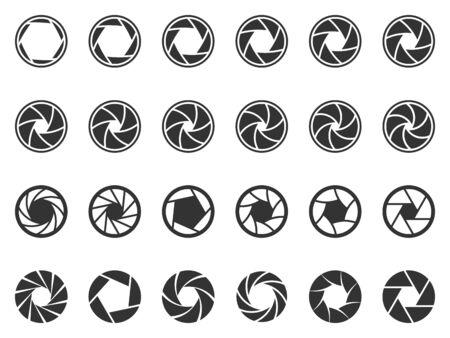 Diaframma dell'obiettivo della fotocamera. Apertura dell'obiettivo fotografico, icona della sagoma dell'otturatore della fotocamera e pittogramma delle aperture dell'otturatore.