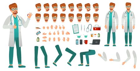 Cartoon medicine doctor creation kit. Medical man, healthcare medic and male doctor character constructor. Professional hospital dentist doctors construction. Isolated vector icons set Banco de Imagens - 129854763