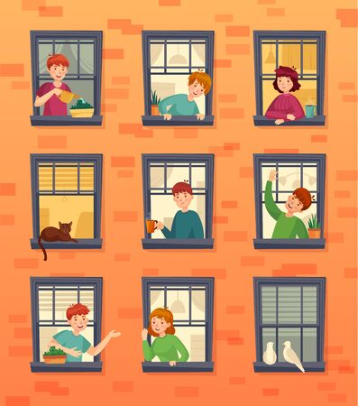 People in windows frames. Communicating neighbors, looking out window and urban residents. Characters inside city apartment in windows at morning cartoon vector illustration 版權商用圖片 - 130568880