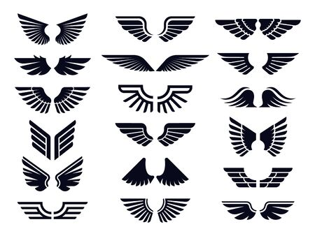 Silhouette pair of wings icon. Angel wing, decorative fly emblem and eagle stencil symbols.