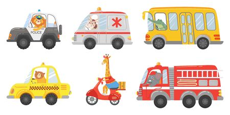 Cartoon animal driver. Animals in emergency ambulance, firetruck and police car. Zoo taxi, public bus and delivery truck. Ambulance and police animals drivers lion, cow, bear isolated vector icons set Illustration
