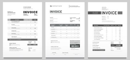 Invoices templates. Price receipt, payment agreement and invoice bill template. Business sales pricing invoices, accounting or bill receipt. Invoice document page isolated vector set