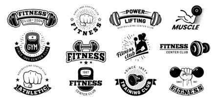 Retro fitness badges. Gym emblem, sport label and black stencil bodybuilding badge.