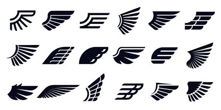 Silhouette wing icons. Bird wings, fast eagle emblem and decorative ornament angel wing stencil. Banco de Imagens - 130568890