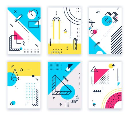 Geometric shapes posters. Abstract geometrical shapes cards, funky 80s and memphis style design. Geometry poster, hipster colorful flyer brochure. Isolated background illustration vector set Banco de Imagens - 130568899