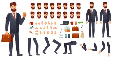 Cartoon businessman character kit. Business characters constructor, different hands gestures, face emotions and legs. Body parts to build businessman or manager character. Isolated vector signs set