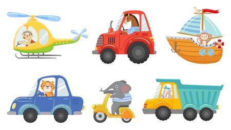 Cute animal drivers. Animal driving car, tractor and truck. Toy helicopter, sailboat and urban scooter. Driver and pilot, animals on street vehicle. Cartoon isolated vector illustration icons set Banco de Imagens - 130568897