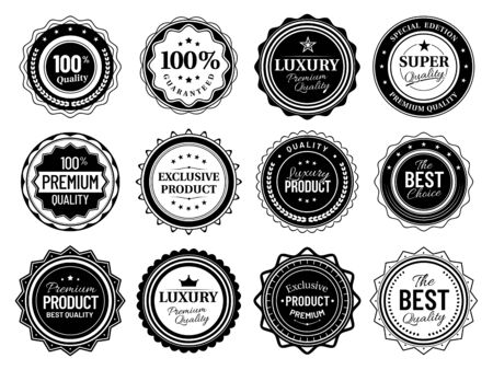 Premium quality badges. Best choice emblem, vintage labels and retro stencil badge. Product quality warranty sale sticker, luxury approval stamp tag. Isolated vector symbols bundle
