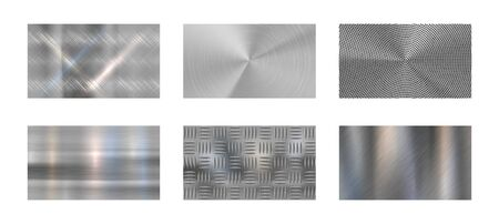 Brushed metal. Steel metallic texture, polished chrome and silver metals shine realistic backdrop. Stainless metal, nickel or aluminium chrome panels. Isolated vector background set