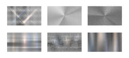 Metal cepillado. La textura metálica de acero, el cromo pulido y los metales plateados brillan como un telón de fondo realista. Paneles de metal inoxidable, níquel o aluminio cromado. Conjunto de fondo de vector aislado Ilustración de vector