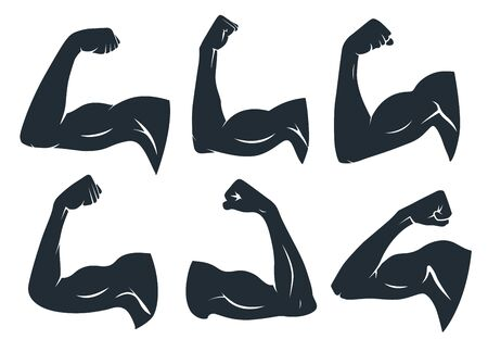 Hand muscle silhouette. Strong arm muscles, hard biceps and power gym. Armpits muscle fitness logo, bodybuilder guy bicep or strength arms powers badge. Isolated vector stencil icons set