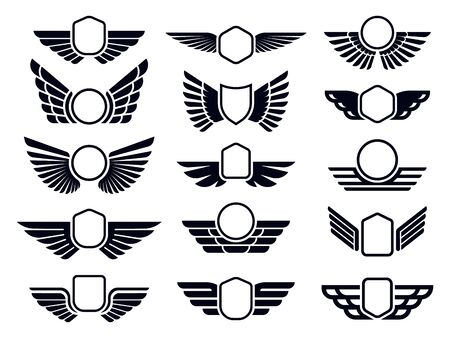 Winged frames. Flying bird shield emblem, eagle wings badge frame and retro aviation fast wing. Delivery cargo logotype or military wings insignia. Isolated symbols vector set Ilustração